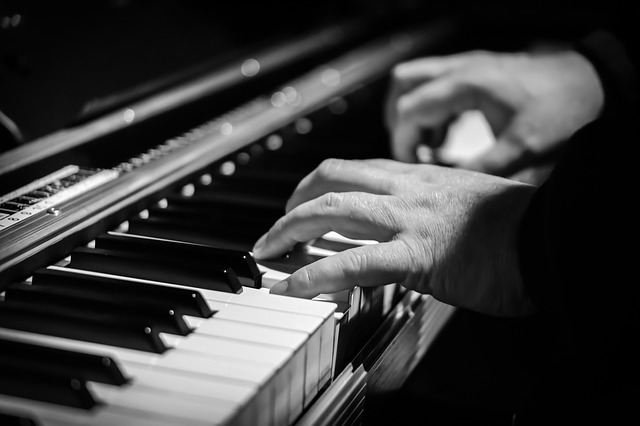 Music, Therapy, Piano, Keys, Black and white